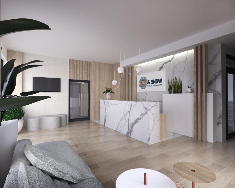 Recepcja budynku z apartamentami na wynajem